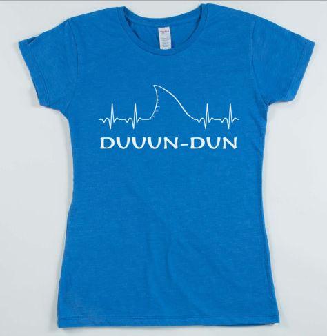 EKG Shark Fin Duun-Dun Jaws T-Shirt Shark Shirt Beach Shirt - (Womens) 20% OFF