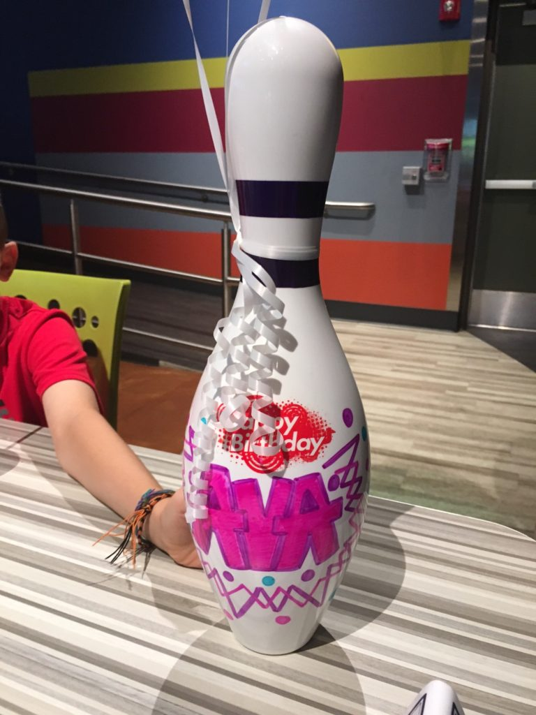 Bowling pin balloons - After Bowling We Had Lunch At Our Own Reserved Table They Mark Your Table With A Bowling Pin And Balloons Decorated With Your Name